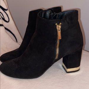 Kstudio black and gold heeled booties